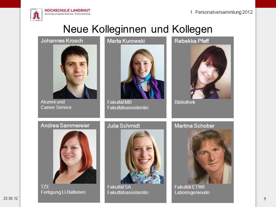 Martina Schober Fakultät ET/WI Laboringenieurin 1. Personalversammlung 2012 25.06.12 9 Neue Kolleginnen und Kollegen Johannes Krosch Alumni und Career