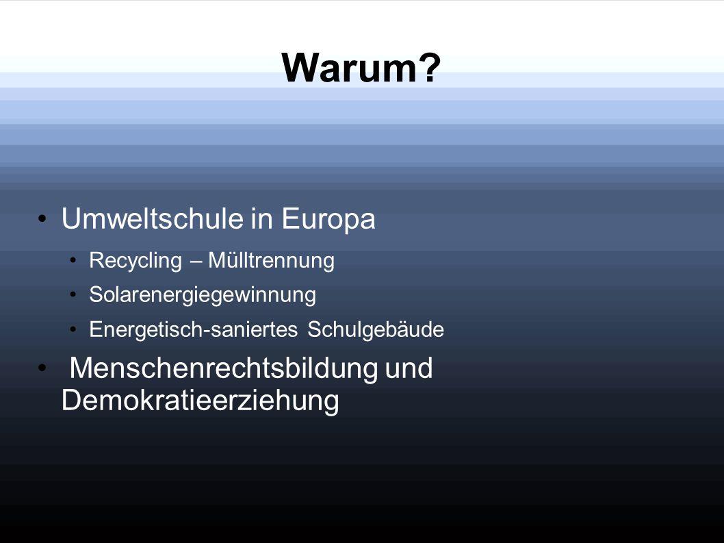 Umweltschule in Europa Recycling – Mülltrennung Solarenergiegewinnung Energetisch-saniertes Schulgebäude Menschenrechtsbildung und Demokratieerziehung
