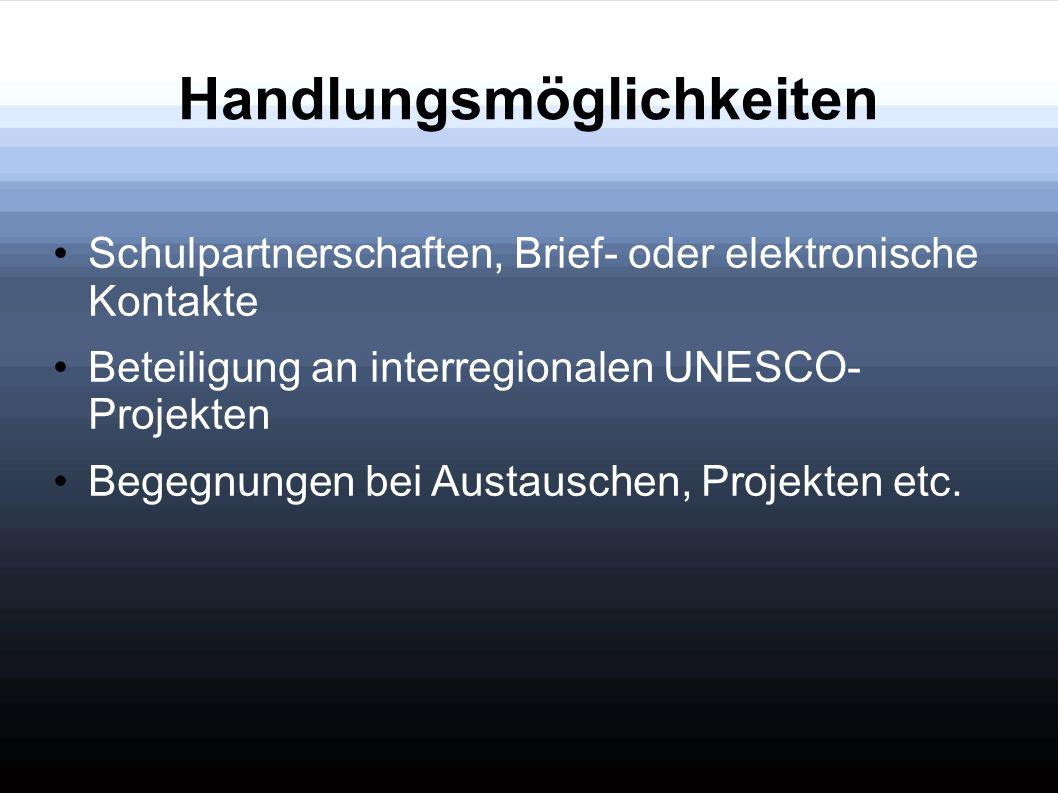 Handlungsmöglichkeiten Schulpartnerschaften, Brief- oder elektronische Kontakte Beteiligung an interregionalen UNESCO- Projekten Begegnungen bei Austa