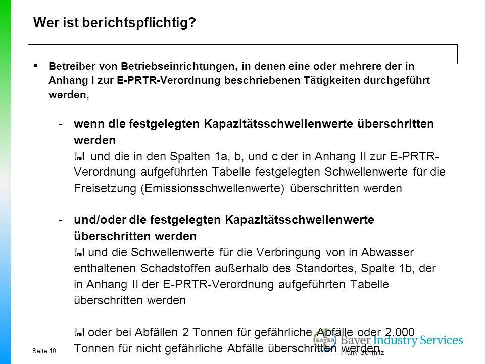 Frank Schmitz Wer ist berichtspflichtig?  Betreiber von Betriebseinrichtungen, in denen eine oder mehrere der in Anhang I zur E-PRTR-Verordnung besch