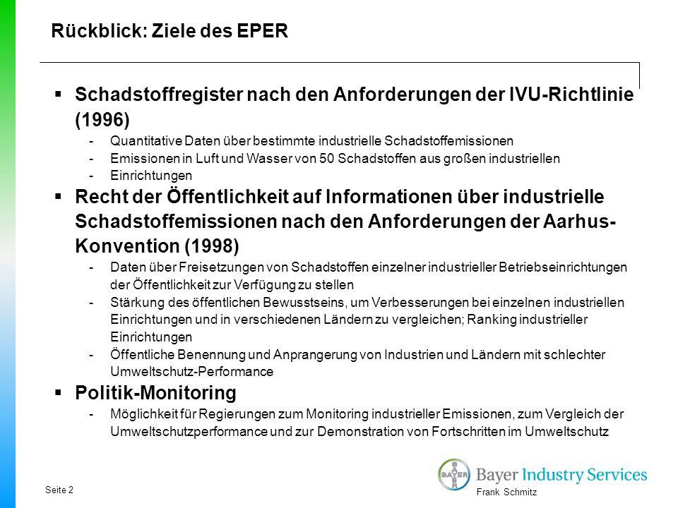 Frank Schmitz Rückblick: Ziele des EPER  Schadstoffregister nach den Anforderungen der IVU-Richtlinie (1996) -Quantitative Daten über bestimmte indus