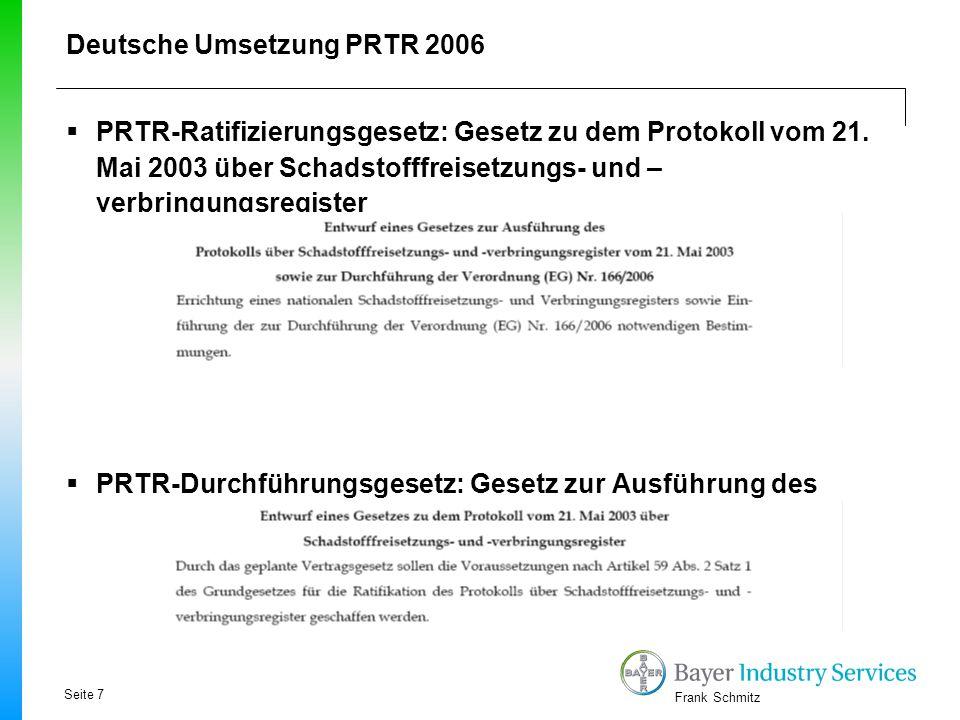 Frank Schmitz Ziele des PRTR  Bei PRTR handelt es sich um eine wesentliche Erweiterung des in der EU bereits eingeführten EPER -Zusätzlich zu den Pfaden Wasser und Luft werden Stofffreisetzungen über die Pfade Boden/Abfall sowie diffuse Emissionen und Stofftransfers berichtspflichtig.