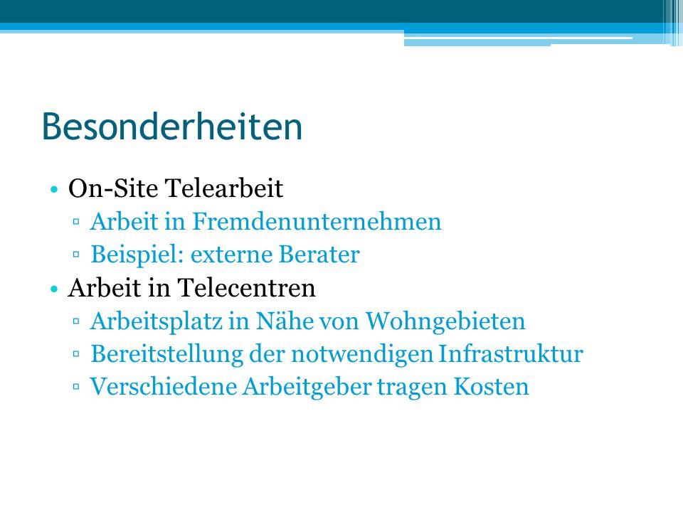 Besonderheiten On-Site Telearbeit ▫Arbeit in Fremdenunternehmen ▫Beispiel: externe Berater Arbeit in Telecentren ▫Arbeitsplatz in Nähe von Wohngebiete