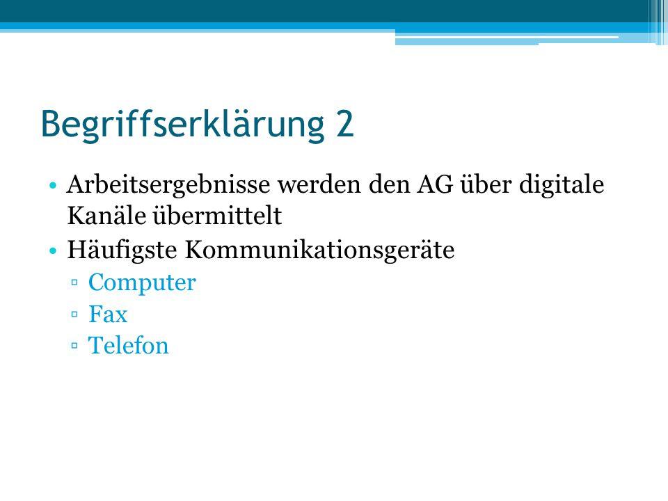 Begriffserklärung 2 Arbeitsergebnisse werden den AG über digitale Kanäle übermittelt Häufigste Kommunikationsgeräte ▫Computer ▫Fax ▫Telefon