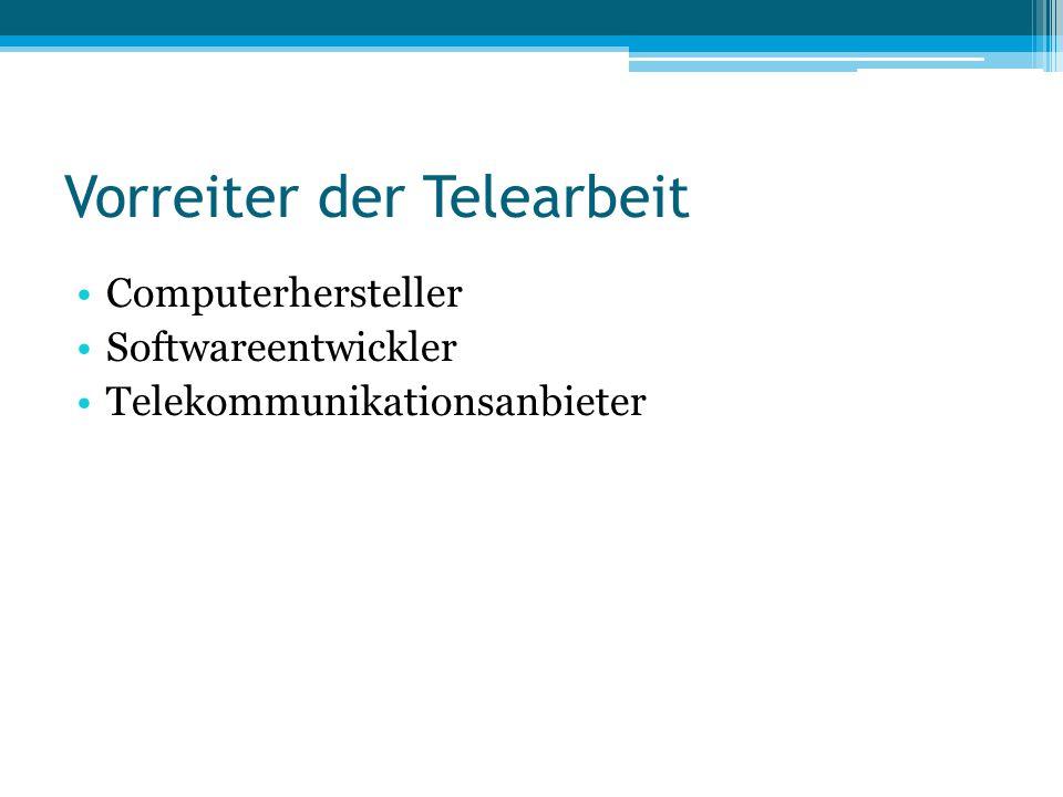 Vorreiter der Telearbeit Computerhersteller Softwareentwickler Telekommunikationsanbieter