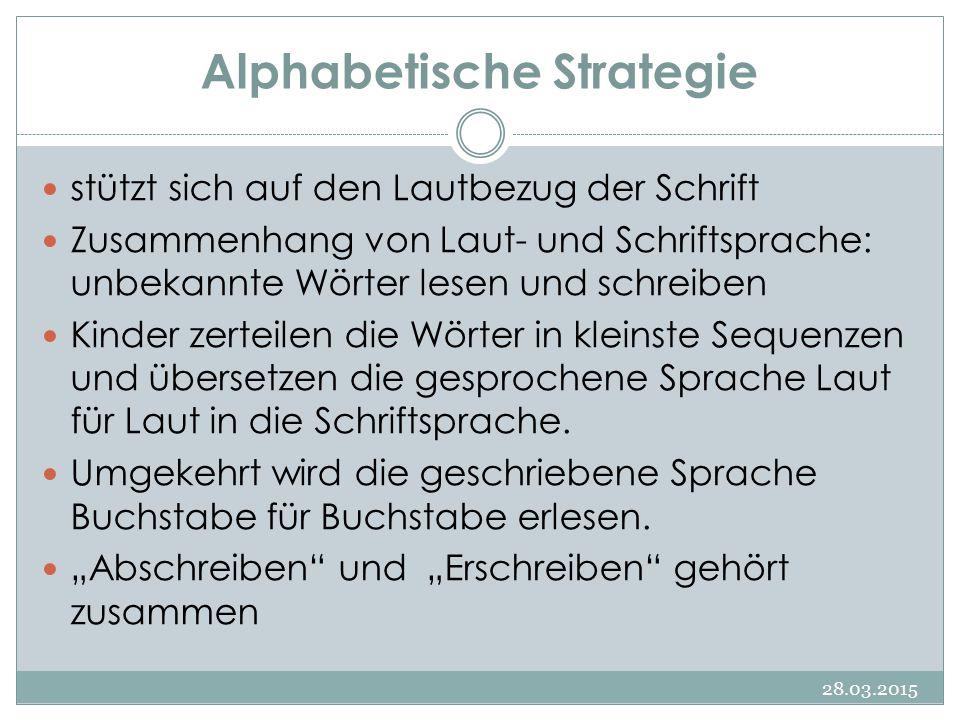 Alphabetische Strategie 28.03.2015 stützt sich auf den Lautbezug der Schrift Zusammenhang von Laut- und Schriftsprache: unbekannte Wörter lesen und sc