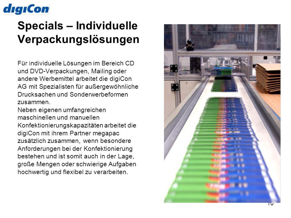 10 Specials – Individuelle Verpackungslösungen Für individuelle Lösungen im Bereich CD und DVD-Verpackungen, Mailing oder andere Werbemittel arbeitet