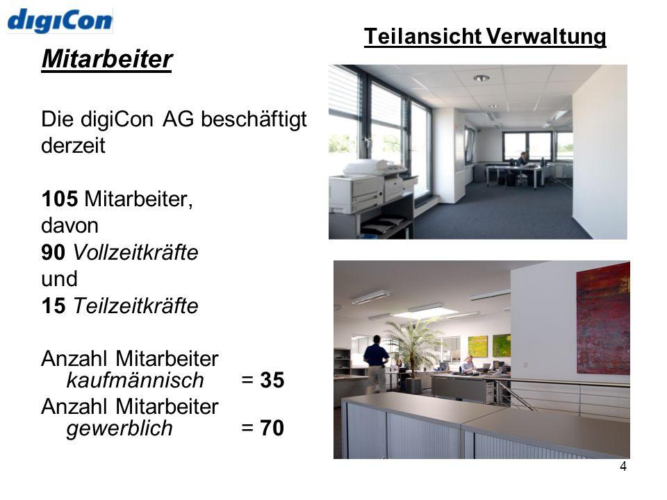 4 Mitarbeiter Die digiCon AG beschäftigt derzeit 105 Mitarbeiter, davon 90 Vollzeitkräfte und 15 Teilzeitkräfte Anzahl Mitarbeiter kaufmännisch= 35 An