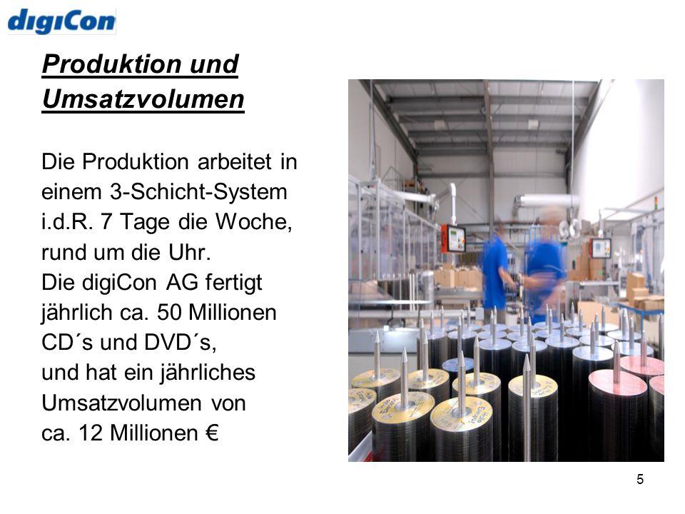 5 Produktion und Umsatzvolumen Die Produktion arbeitet in einem 3-Schicht-System i.d.R. 7 Tage die Woche, rund um die Uhr. Die digiCon AG fertigt jähr
