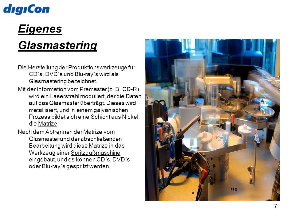 7 Eigenes Glasmastering Die Herstellung der Produktionswerkzeuge für CD´s, DVD´s und Blu-ray´s wird als Glasmastering bezeichnet. Mit der Information