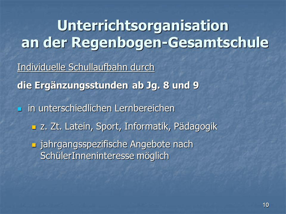 Unterrichtsorganisation an der Regenbogen-Gesamtschule Individuelle Schullaufbahn durch die Ergänzungsstunden ab Jg.