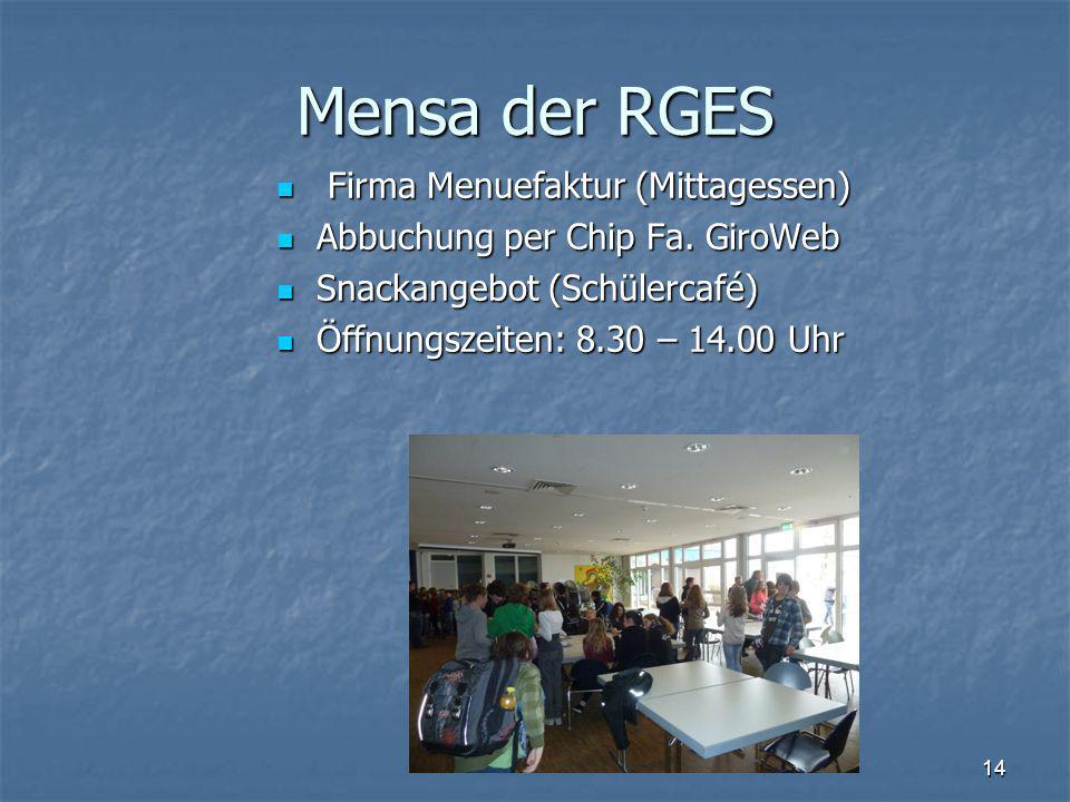 Mensa der RGES Firma Menuefaktur (Mittagessen) Firma Menuefaktur (Mittagessen) Abbuchung per Chip Fa.