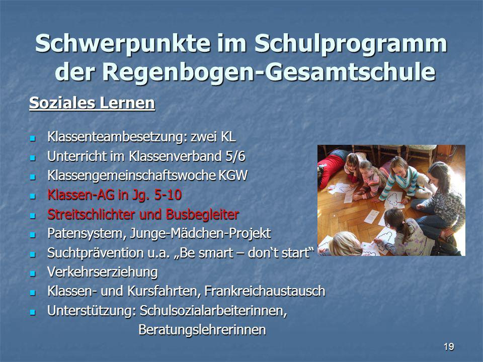 Schwerpunkte im Schulprogramm der Regenbogen-Gesamtschule Soziales Lernen Klassenteambesetzung: zwei KL Klassenteambesetzung: zwei KL Unterricht im Kl