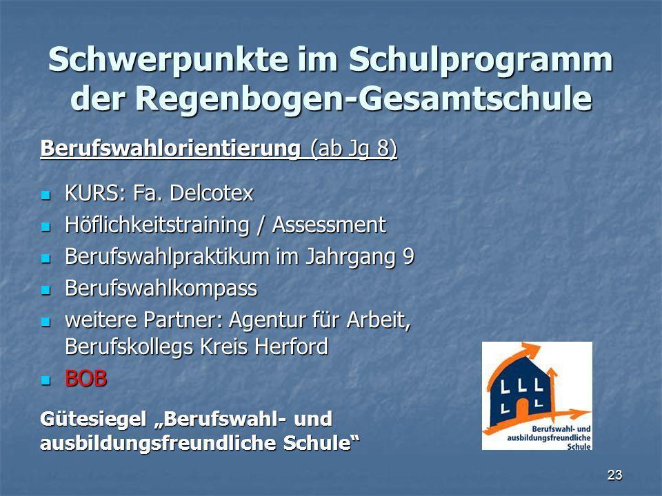 Schwerpunkte im Schulprogramm der Regenbogen-Gesamtschule Berufswahlorientierung (ab Jg 8) KURS: Fa.
