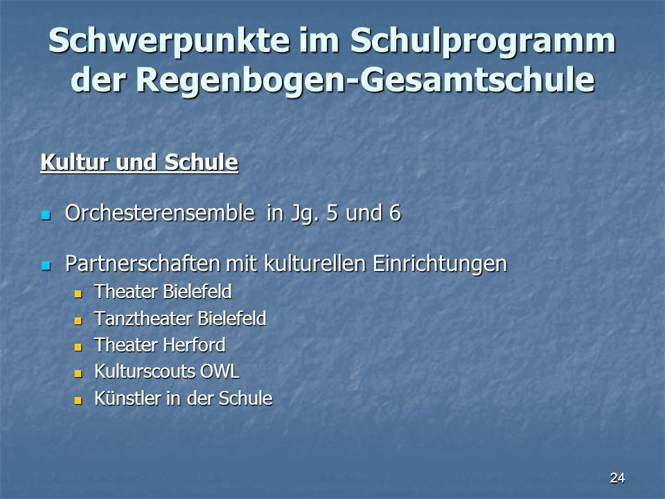 Schwerpunkte im Schulprogramm der Regenbogen-Gesamtschule Kultur und Schule Orchesterensemble in Jg.
