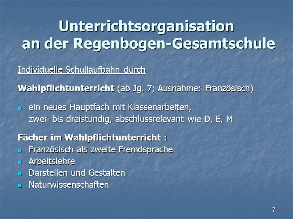 Unterrichtsorganisation an der Regenbogen-Gesamtschule Individuelle Schullaufbahn durch Wahlpflichtunterricht (ab Jg.