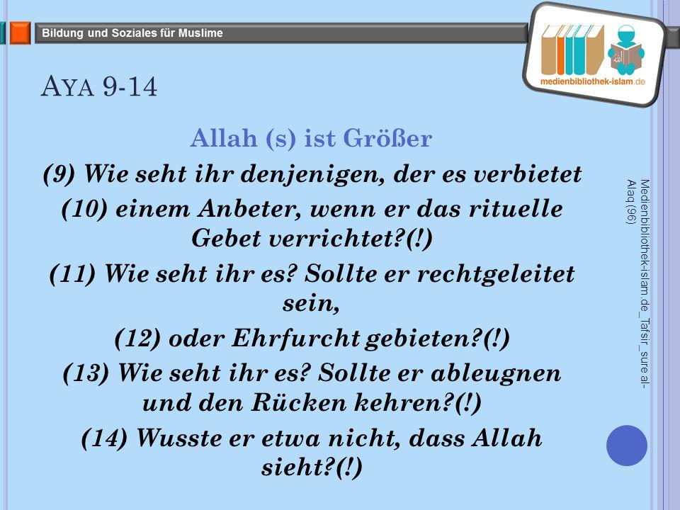 A YA 9-14 Allah (s) ist Größer (9) Wie seht ihr denjenigen, der es verbietet (10) einem Anbeter, wenn er das rituelle Gebet verrichtet (!) (11) Wie seht ihr es.