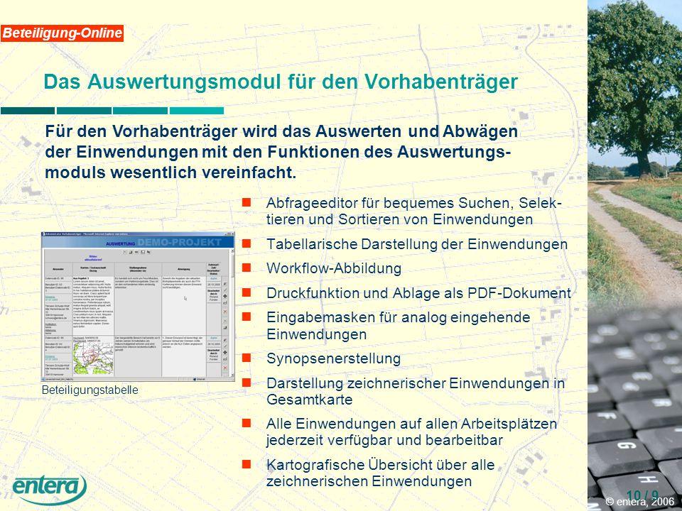 © entera, 2006 10 / 9 Beteiligung-Online Das Auswertungsmodul für den Vorhabenträger Für den Vorhabenträger wird das Auswerten und Abwägen der Einwendungen mit den Funktionen des Auswertungs- moduls wesentlich vereinfacht.