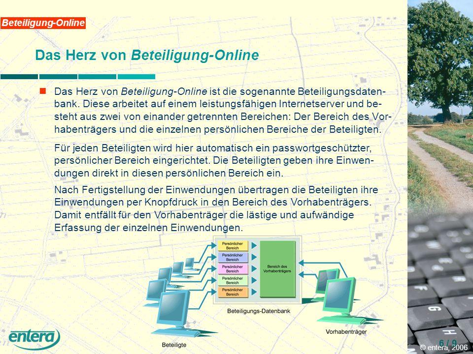 © entera, 2006 6 / 9 Beteiligung-Online Das Herz von Beteiligung-Online Das Herz von Beteiligung-Online ist die sogenannte Beteiligungsdaten- bank.