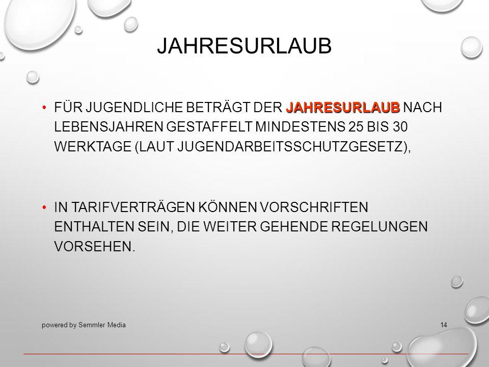 JAHRESURLAUB JAHRESURLAUBFÜR JUGENDLICHE BETRÄGT DER JAHRESURLAUB NACH LEBENSJAHREN GESTAFFELT MINDESTENS 25 BIS 30 WERKTAGE (LAUT JUGENDARBEITSSCHUTZ