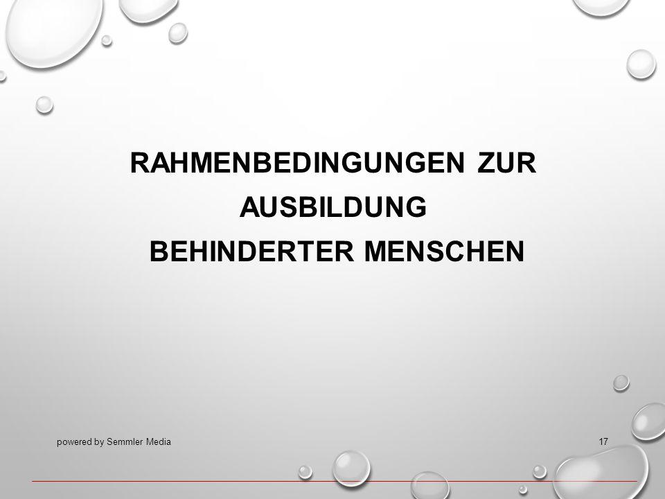 RAHMENBEDINGUNGEN ZUR AUSBILDUNG BEHINDERTER MENSCHEN powered by Semmler Media17