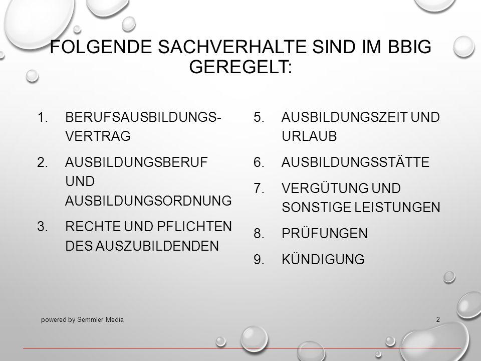 FOLGENDE SACHVERHALTE SIND IM BBIG GEREGELT: 1.BERUFSAUSBILDUNGS- VERTRAG 2.AUSBILDUNGSBERUF UND AUSBILDUNGSORDNUNG 3.RECHTE UND PFLICHTEN DES AUSZUBI