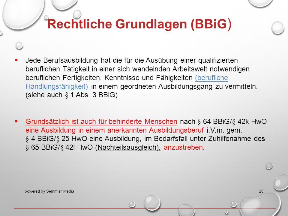 powered by Semmler Media20 Rechtliche Grundlagen (BBiG )  Jede Berufsausbildung hat die für die Ausübung einer qualifizierten beruflichen Tätigkeit i