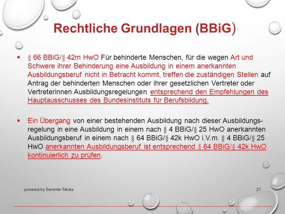 powered by Semmler Media21 Rechtliche Grundlagen (BBiG )  § 66 BBiG/§ 42m HwO Für behinderte Menschen, für die wegen Art und Schwere ihrer Behinderun