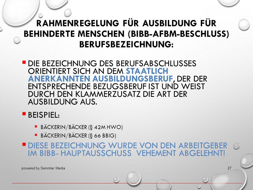 RAHMENREGELUNG FÜR AUSBILDUNG FÜR BEHINDERTE MENSCHEN (BIBB-AFBM-BESCHLUSS) BERUFSBEZEICHNUNG:  DIE BEZEICHNUNG DES BERUFSABSCHLUSSES ORIENTIERT SICH