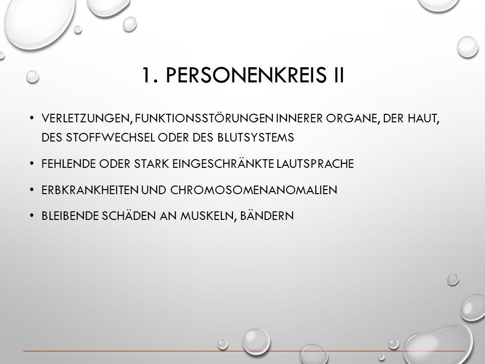 1. PERSONENKREIS II VERLETZUNGEN, FUNKTIONSSTÖRUNGEN INNERER ORGANE, DER HAUT, DES STOFFWECHSEL ODER DES BLUTSYSTEMS FEHLENDE ODER STARK EINGESCHRÄNKT