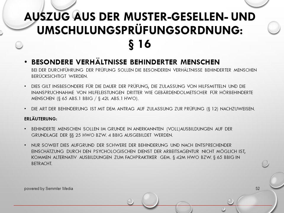 AUSZUG AUS DER MUSTER-GESELLEN- UND UMSCHULUNGSPRÜFUNGSORDNUNG: § 16 BESONDERE VERHÄLTNISSE BEHINDERTER MENSCHEN BEI DER DURCHFÜHRUNG DER PRÜFUNG SOLL