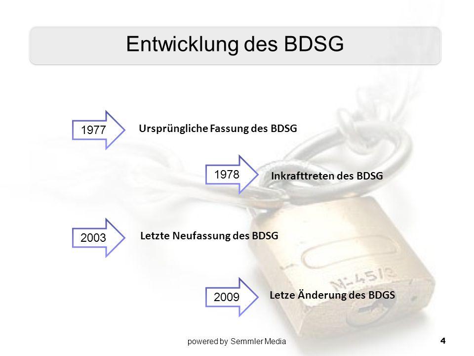 1977 Ursprüngliche Fassung des BDSG Inkrafttreten des BDSG Letzte Neufassung des BDSG Letze Änderung des BDGS Entwicklung des BDSG 1978 2003 2009 powe