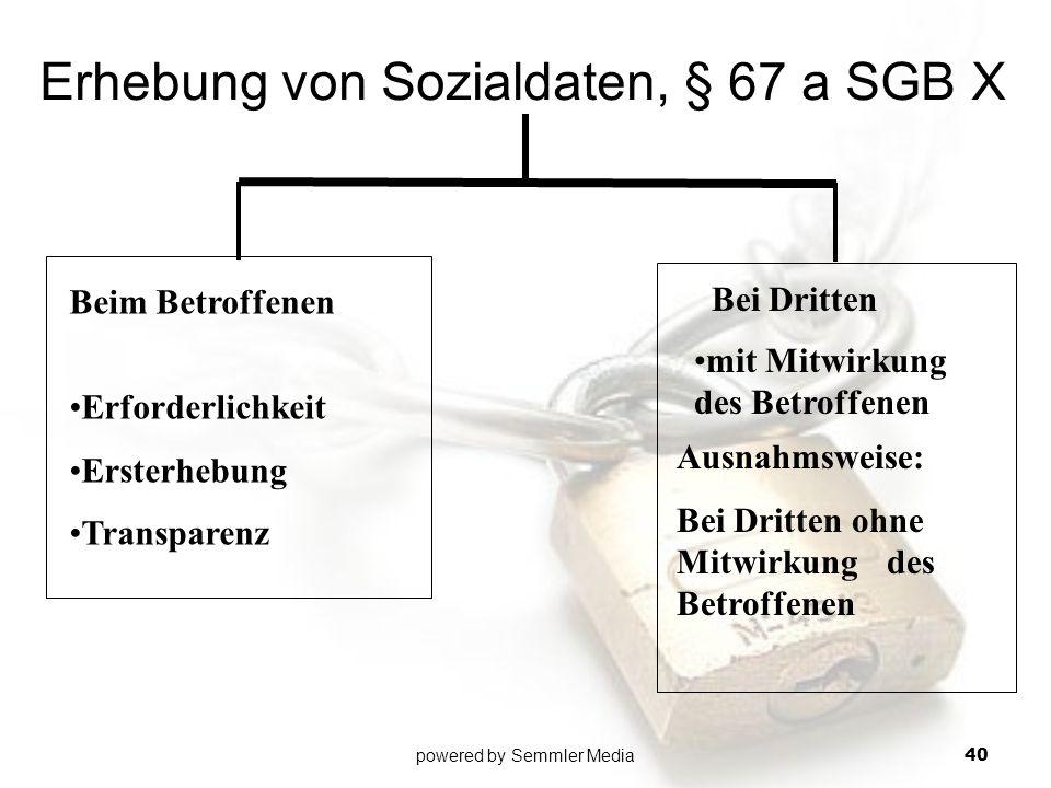 Erhebung von Sozialdaten, § 67 a SGB X Beim Betroffenen Erforderlichkeit Ersterhebung Transparenz Ausnahmsweise: Bei Dritten ohne Mitwirkung des Betro