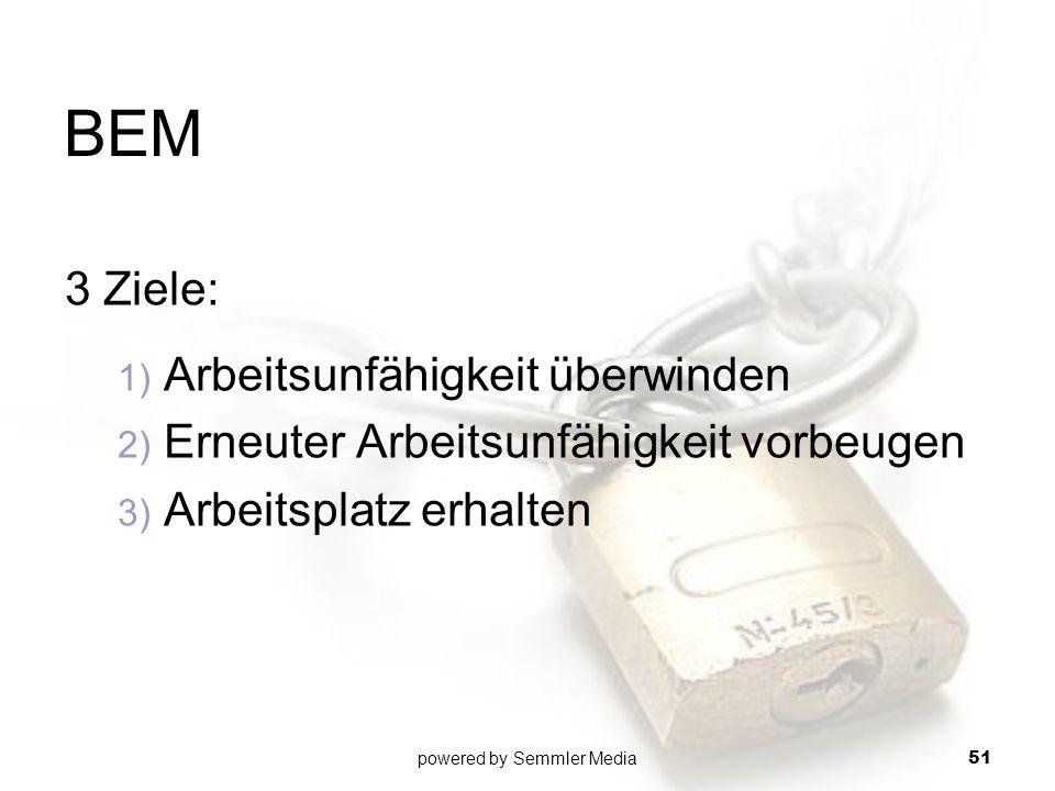 BEM 3 Ziele: 1) Arbeitsunfähigkeit überwinden 2) Erneuter Arbeitsunfähigkeit vorbeugen 3) Arbeitsplatz erhalten powered by Semmler Media 51