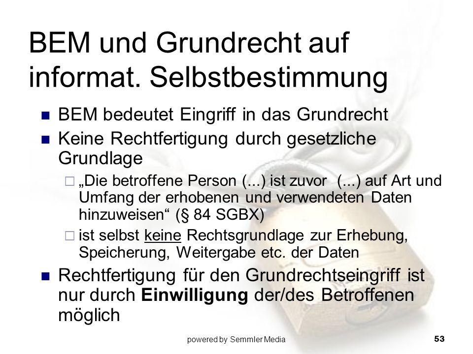 """BEM und Grundrecht auf informat. Selbstbestimmung BEM bedeutet Eingriff in das Grundrecht Keine Rechtfertigung durch gesetzliche Grundlage  """"Die betr"""