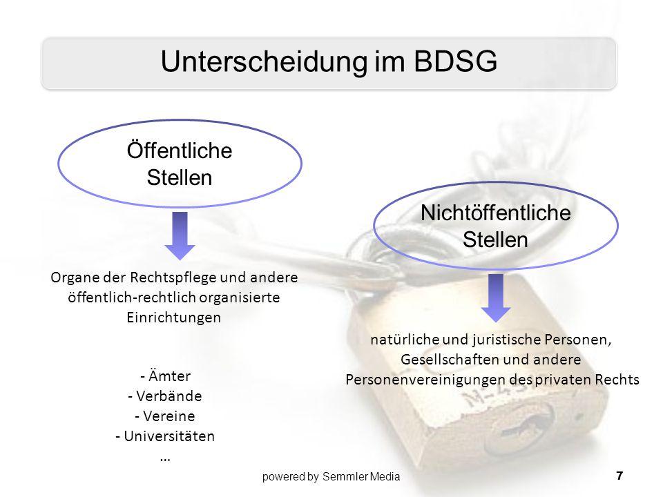 Öffentliche Stellen Nichtöffentliche Stellen Unterscheidung im BDSG Organe der Rechtspflege und andere öffentlich-rechtlich organisierte Einrichtungen