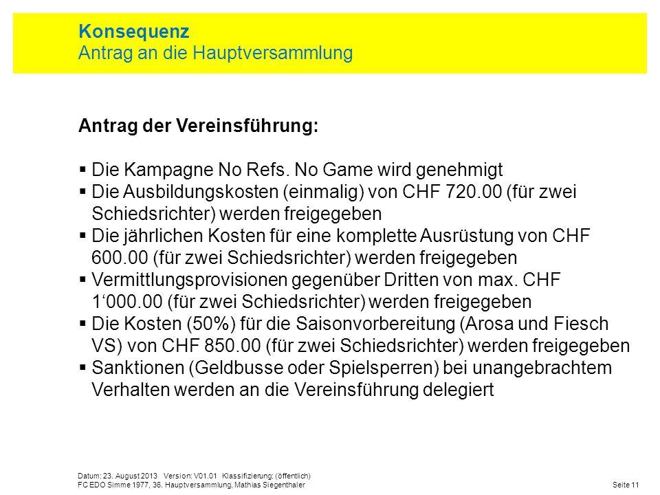 Datum: 23. August 2013 Version: V01.01 Klassifizierung: (öffentlich) Seite 11FC EDO Simme 1977, 36. Hauptversammlung, Mathias Siegenthaler Konsequenz