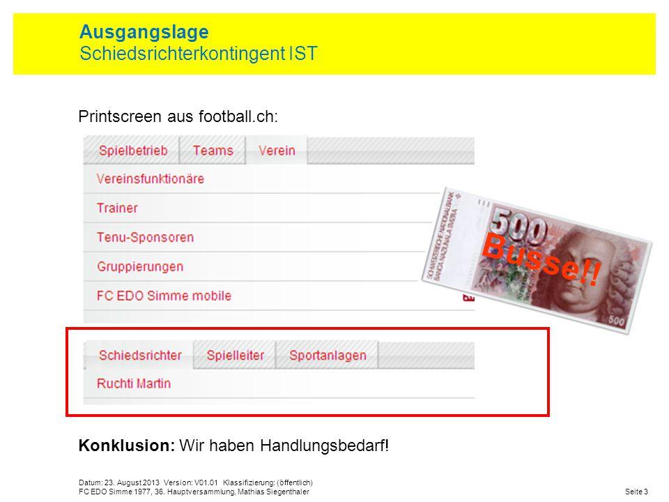 Printscreen aus football.ch: Konklusion: Wir haben Handlungsbedarf! Datum: 23. August 2013 Version: V01.01 Klassifizierung: (öffentlich) Seite 3FC EDO