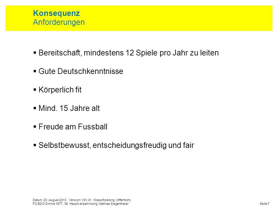 Datum: 23. August 2013 Version: V01.01 Klassifizierung: (öffentlich) Seite 7FC EDO Simme 1977, 36. Hauptversammlung, Mathias Siegenthaler Konsequenz A