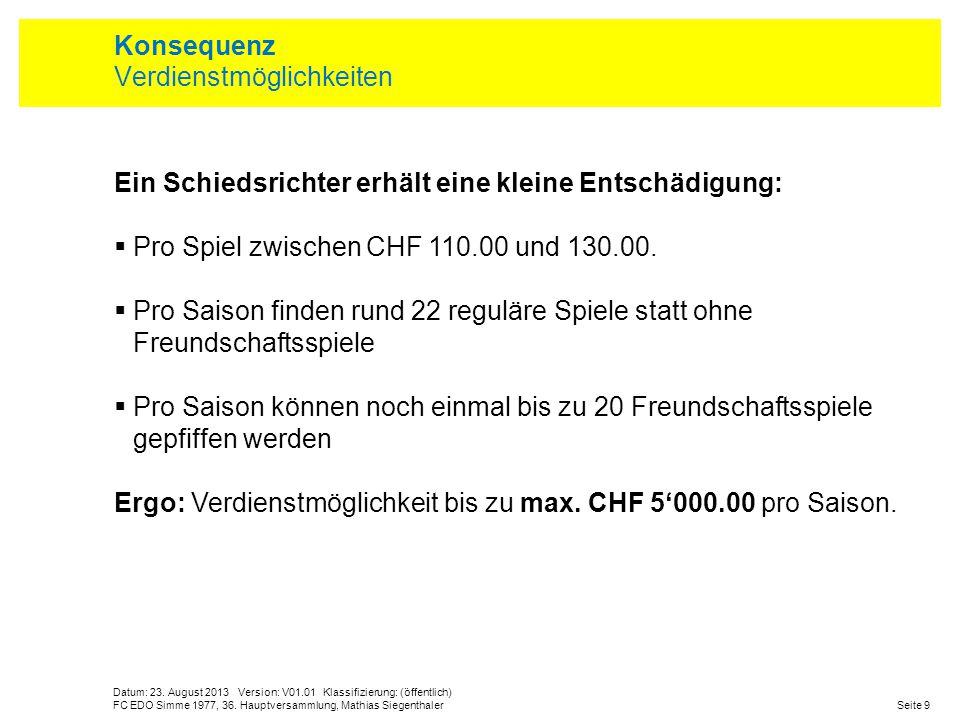 Datum: 23. August 2013 Version: V01.01 Klassifizierung: (öffentlich) Seite 9FC EDO Simme 1977, 36. Hauptversammlung, Mathias Siegenthaler Konsequenz V