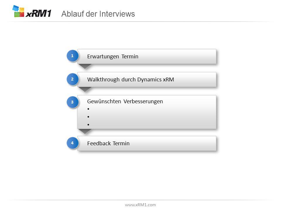 www.xRM1.com Ablauf der Interviews Erwartungen Termin 1 1 Walkthrough durch Dynamics xRM 2 2 Gewünschten Verbesserungen Gewünschten Verbesserungen 3 3 Feedback Termin 4 4