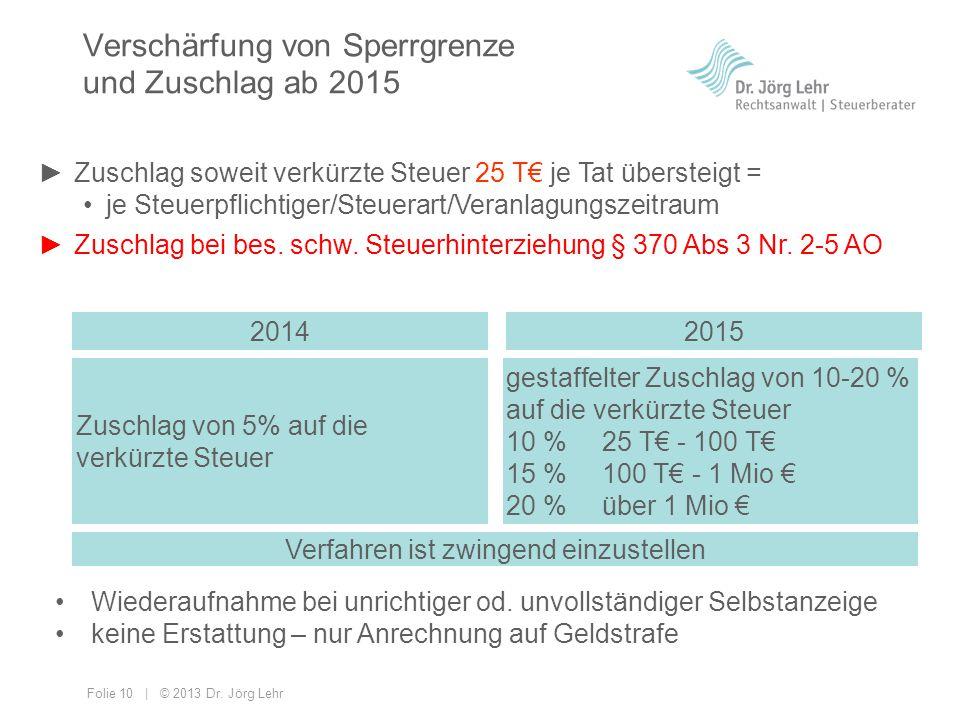 Folie 10 | © 2013 Dr. Jörg Lehr Verschärfung von Sperrgrenze und Zuschlag ab 2015 ►Zuschlag soweit verkürzte Steuer 50 T€ je Tat übersteigt = je Steue