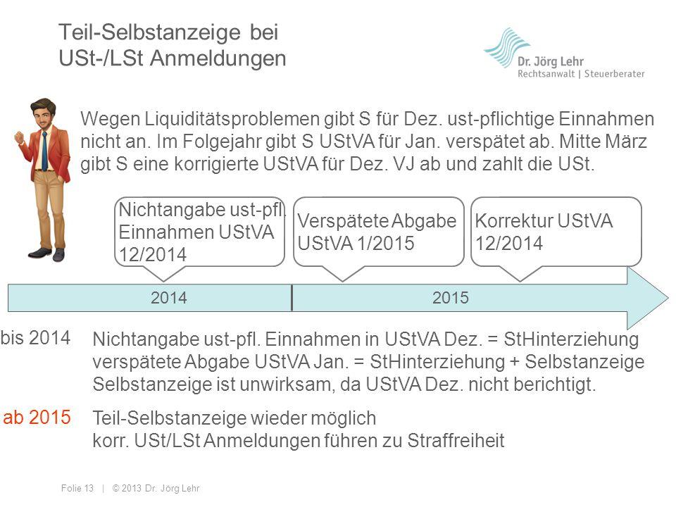 Folie 13 | © 2013 Dr. Jörg Lehr Teil-Selbstanzeige bei USt-/LSt Anmeldungen Wegen Liquiditätsproblemen gibt S für Dez. ust-pflichtige Einnahmen nicht