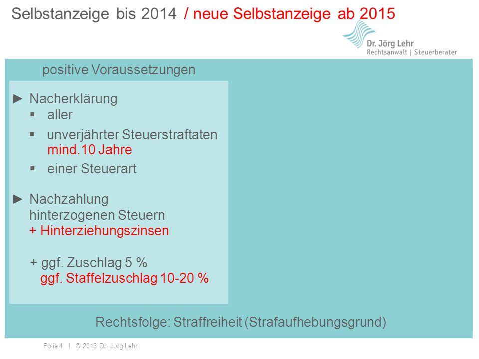 Folie 4 | © 2013 Dr. Jörg Lehr Selbstanzeige bis 2014 positive Voraussetzungen / neue Selbstanzeige ab 2015 ►Nacherklärung  aller  einer Steuerart 