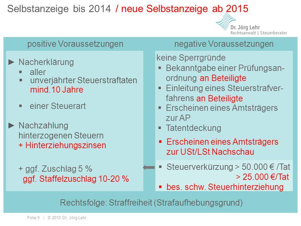 Folie 9 | © 2013 Dr. Jörg Lehr Selbstanzeige bis 2014 positive Voraussetzungen / neue Selbstanzeige ab 2015 keine Sperrgründe  Erscheinen eines Amtst