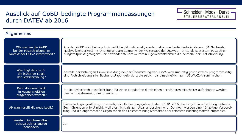 9 Ausblick auf GoBD-bedingte Programmanpassungen durch DATEV ab 2016 Spätestens im Zuge der Übermittlung der UStVA fordert das Programm eine Festschreibung aller Buchungen eines Buchungsstapels der jeweiligen Periode (z.