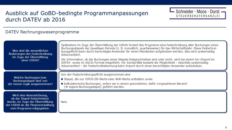 10 Ausblick auf GoBD-bedingte Programmanpassungen durch DATEV ab 2016 Ja, auch bei Weitergabe der Daten zur Übermittlung über das Telemodul gilt dieselbe, oben beschriebene Logik.