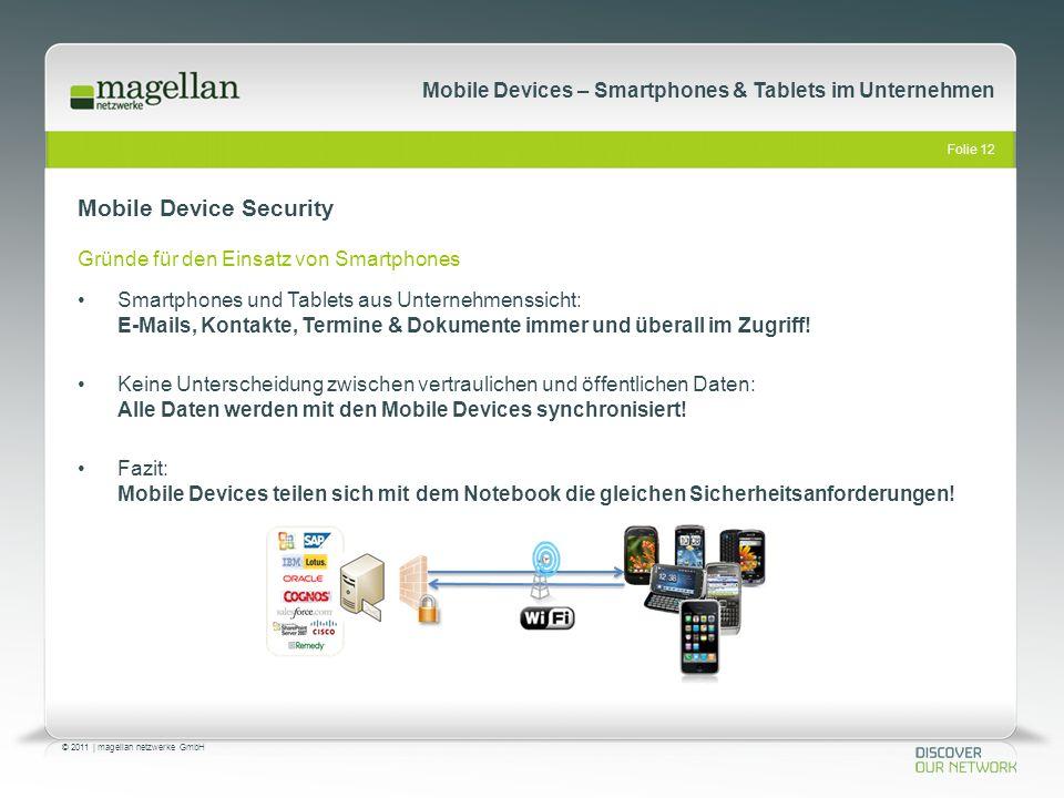 Folie 12 © 2011   magellan netzwerke GmbH Mobile Devices – Smartphones & Tablets im Unternehmen Mobile Device Security Gründe für den Einsatz von Smar