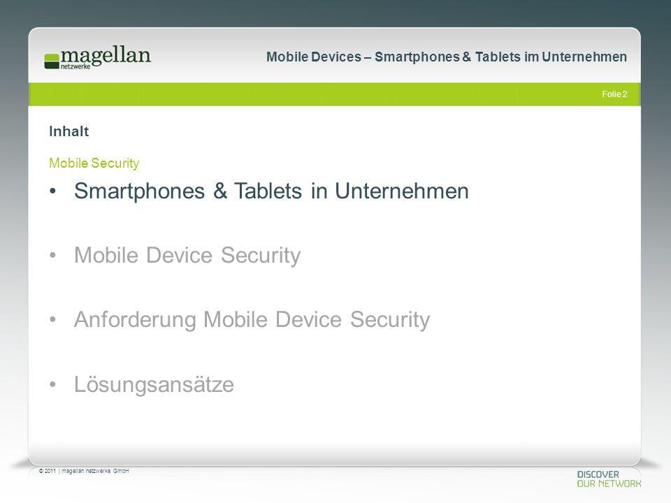Folie 23 © 2011   magellan netzwerke GmbH Mobile Devices – Smartphones & Tablets im Unternehmen Anforderungen: Mobile Device Security Schnittstellenkontrolle Hersteller und OS unabhängig Asset Management User Profile