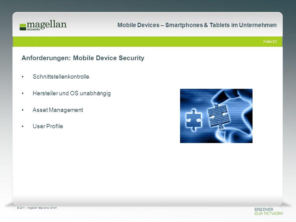 Folie 23 © 2011   magellan netzwerke GmbH Mobile Devices – Smartphones & Tablets im Unternehmen Anforderungen: Mobile Device Security Schnittstellenko
